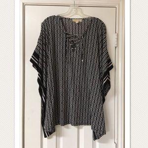 Michael Kors Black & White Kimono Shirt